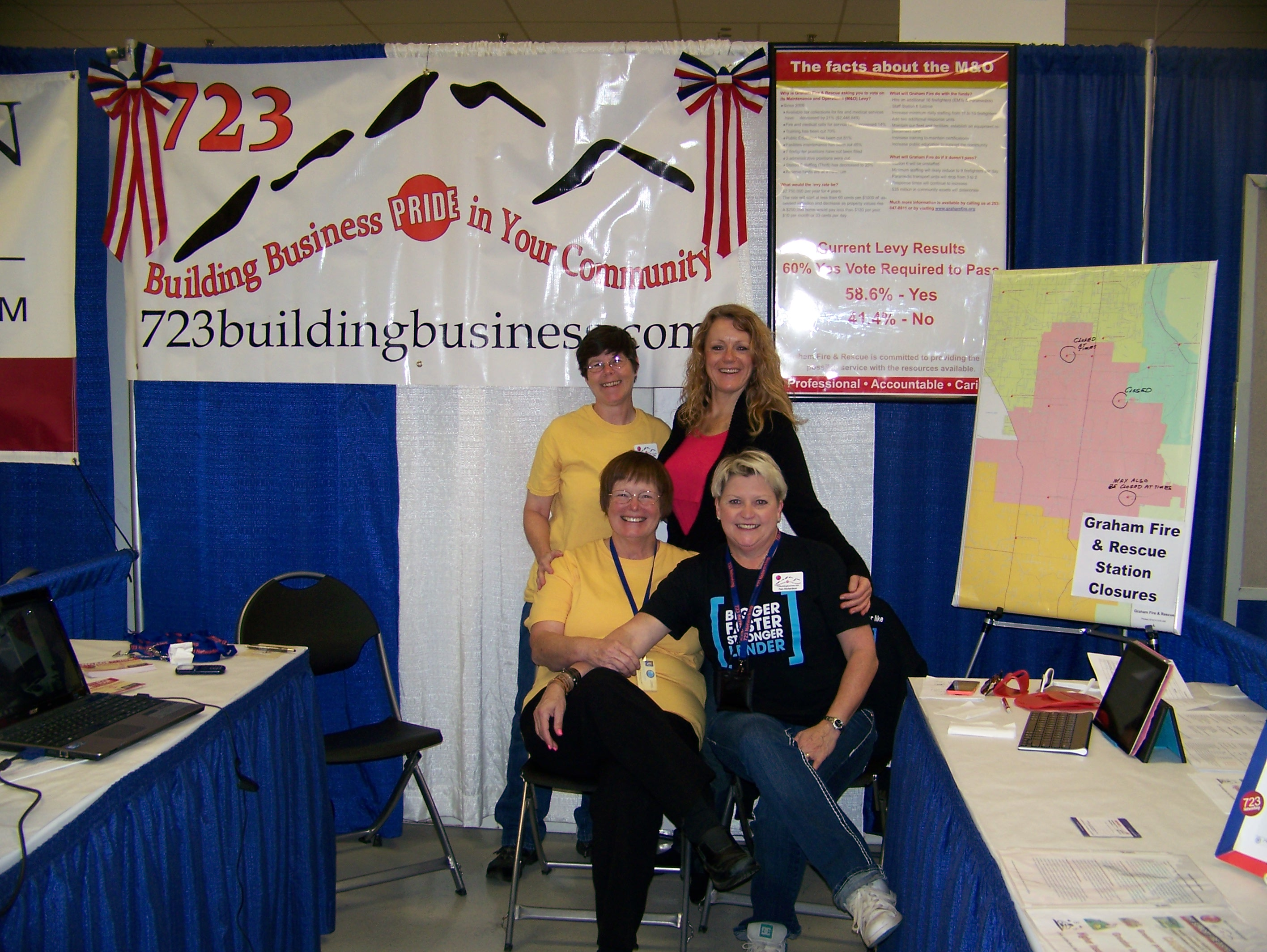 Lisa Twining Taylor, Sandra K Austin, Kristine M. Smith and Pam Richardson holding holding down the 723 booth at the Puyallup Fair Sept. 13 2014
