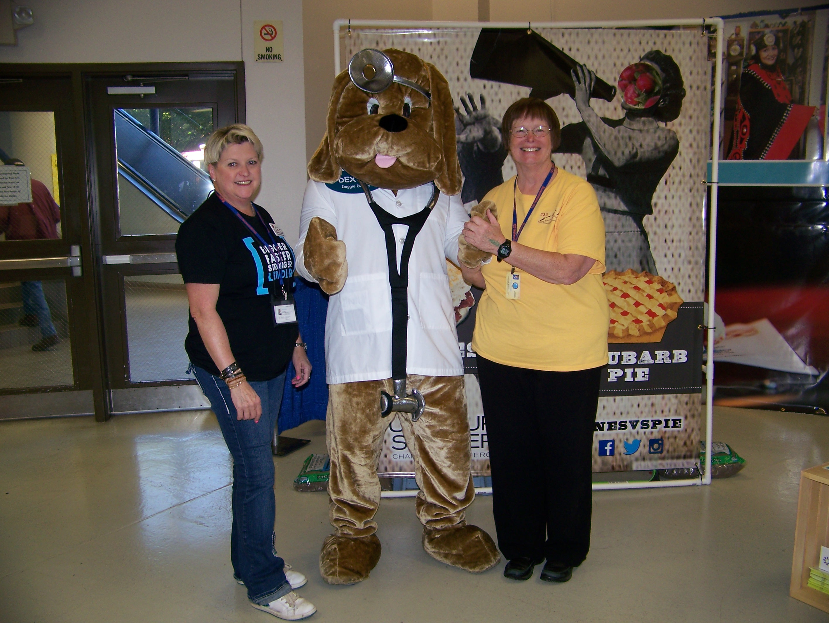 Pam Richardson and Kristine M Smith with Dr. Dawg at the Puyallup Fair
